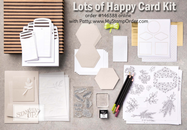 Lots of Happy Card kit by Stampin' UP! creates 20 cards!  Available online #146388 at www.MyStampOrder.com
