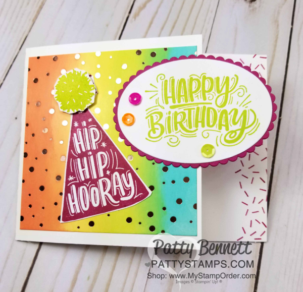 Birthday Card Ideas featuring Stampin' UP! Celebrate You stamp set and Tutti Frutti sequins and sponged Springtime Foils background, by Patty Bennett