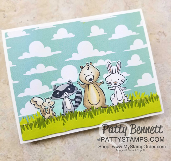 We Must Celebrate fun animal card colored with Stampin' Blends markers. Stampin' UP! Myths & Magic cloud design paper and Picnic Basket grass die.  Card by Patty Bennett