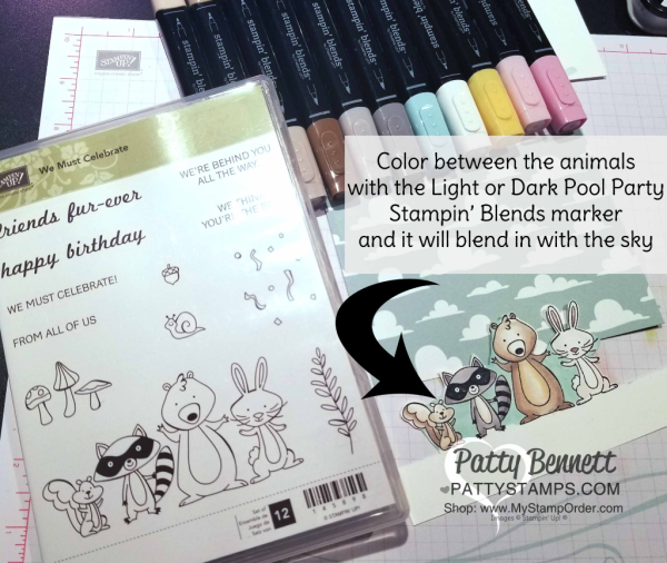 Tips for coloring the We Must Celebrate fun animal card colored with Stampin' Blends markers. Stampin' UP! Myths & Magic cloud design paper and Picnic Basket grass die.  Card by Patty Bennett
