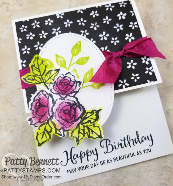 Handstamped Petal Palette floral cards featuring Sponge Daubers and Stampin' UP! Petal Passion designer paper, by Patty Bennett