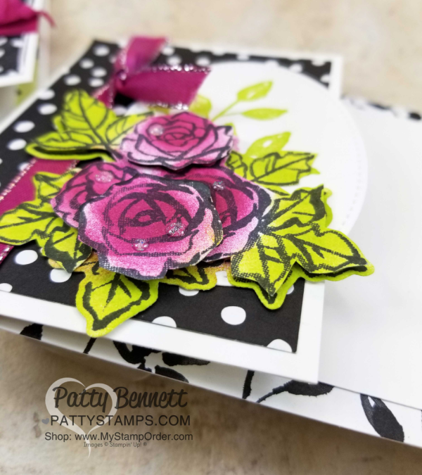 Layered flowers for Handstamped Petal Palette floral cards featuring Sponge Daubers and Stampin' UP! Petal Passion designer paper, by Patty Bennett