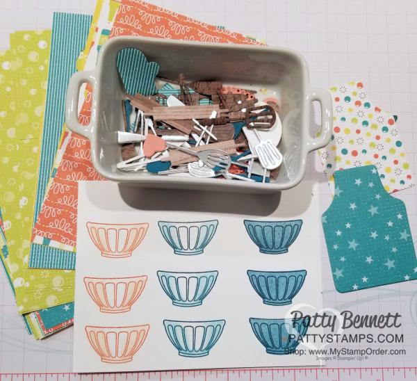 Apron of Love bundle untensil die cuts, and stamped bowls from the Fruit Basket stamp set - shop Stampin' UP! online: www.MyStampOrder.com