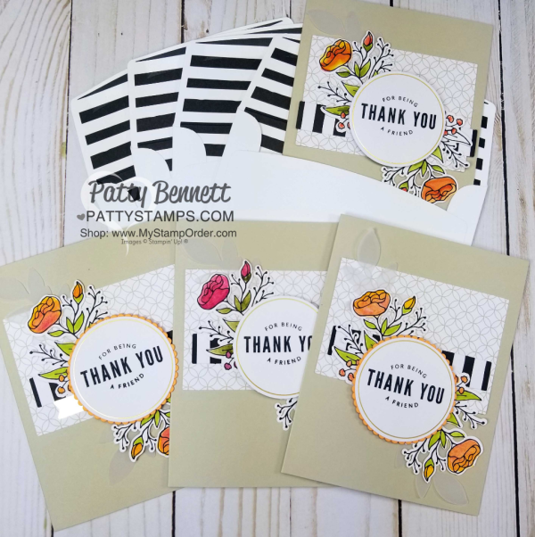 Lots of Happy card kit from Stampin' UP! creates 20 cards with envelopes. Includes supplies, stamp set and watercolor pencils!  cards by Patty Bennett