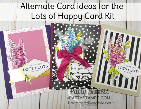 Alternate designs for Lots of Happy card kit from Stampin' UP! creates 20 cards with envelopes. Includes supplies, stamp set and watercolor pencils!  cards by Patty Bennett