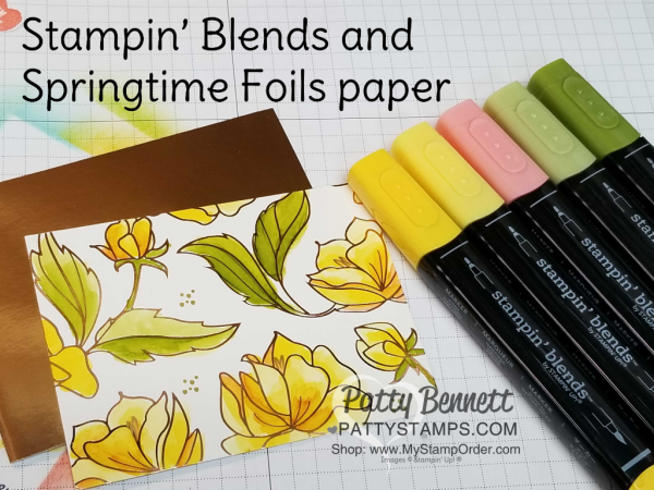 Stampin' UP! Springtime Foils paper colored with Stampin' Blends alcohol markers - fun fold card featuring Petal Palette bundle.