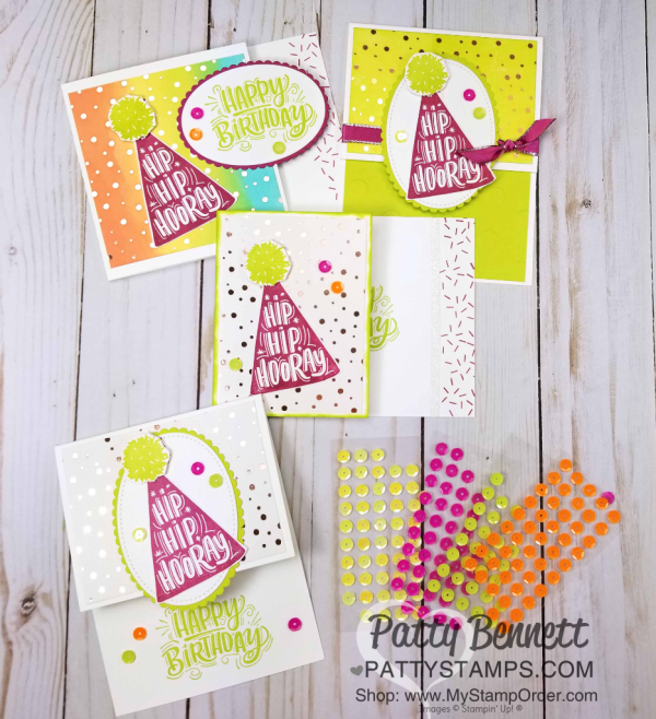 Birthday Card Ideas featuring Stampin' UP! Celebrate You stamp set and Tutti Frutti sequins, by Patty Bennett