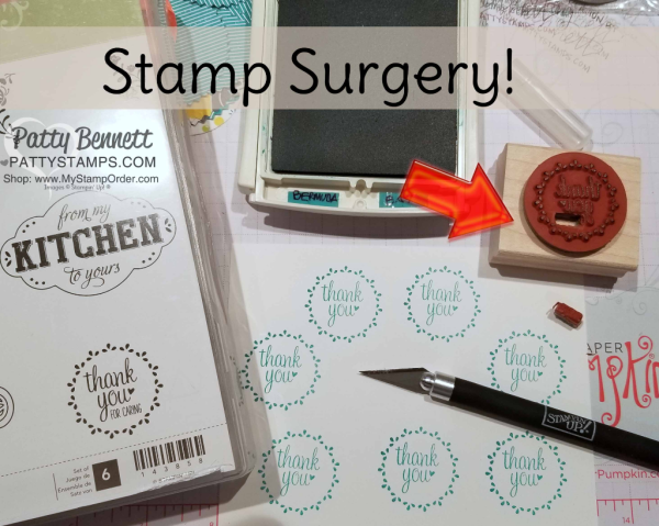 Stamp Surgery with my Xacto knife on the Stampin' Up! Label Me Pretty stamp set - needed a Thank You stamp!