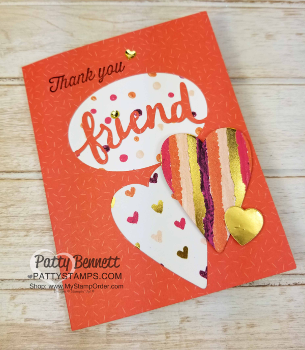 Handmade Thank you Friend cards, created with Stampin' Up! Lovely Words framelits, Tutti Fruitt cards, and Painted with Love hearts, by Patty Bennett