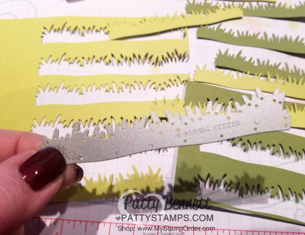 Picnic Basket Builder Framelits has this amazing grass die cut!! I love it! perfect for spring and Easter cards! #145658 at www.MyStampOrder.com