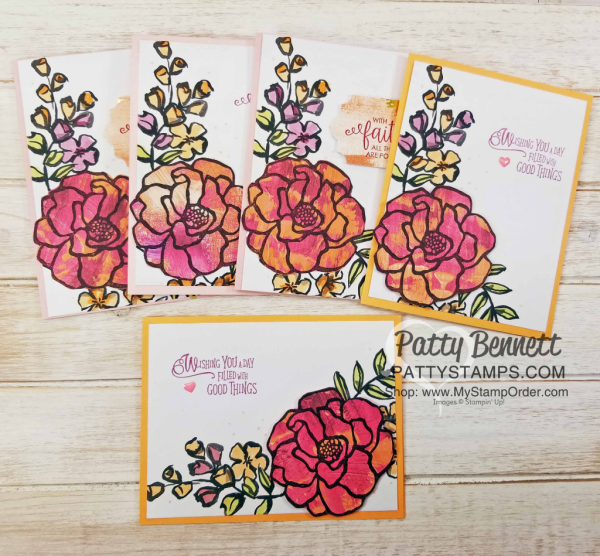 Petal Passsion Memories & More card ideas featuring the flower image from the Stampin' Up! Beautiful Day stamp set, stamped onto Painted with Love designer paper, by Patty Bennett