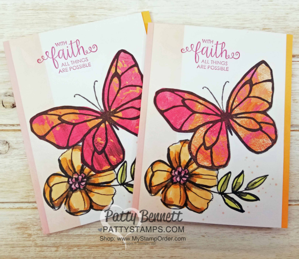 Petal Passsion Memories & More card ideas featuring the butterfly image from the Stampin' Up! Beautiful Day stamp set, stamped onto Painted with Love designer paper, by Patty Bennett