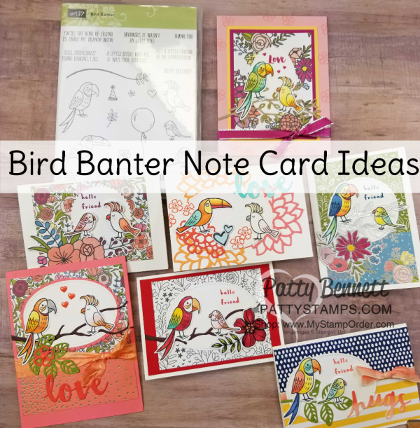 Stampin' Up! Bird Banter retiring stamp set - fun bird cards colored with Stampin' Blends by Patty Bennett
