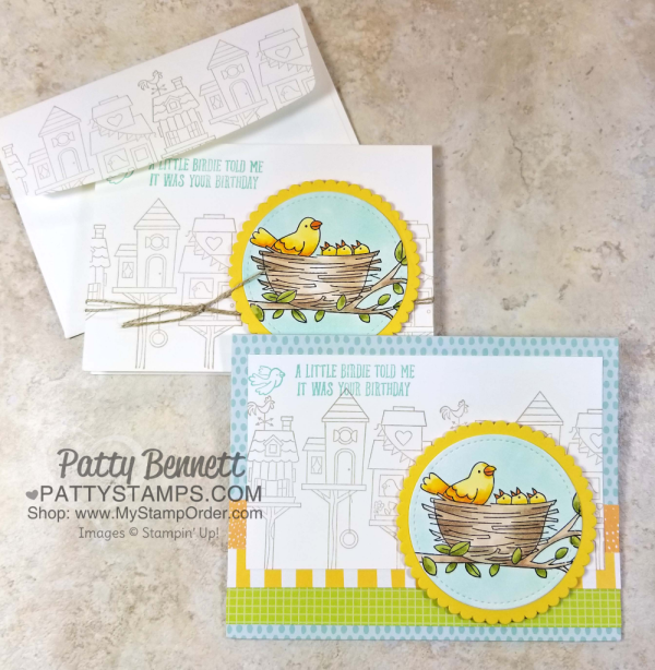 Stampin' UP! retiring stamp set: Flying Home.  Birdies in nest note cards colored with Stampin' Blends.
