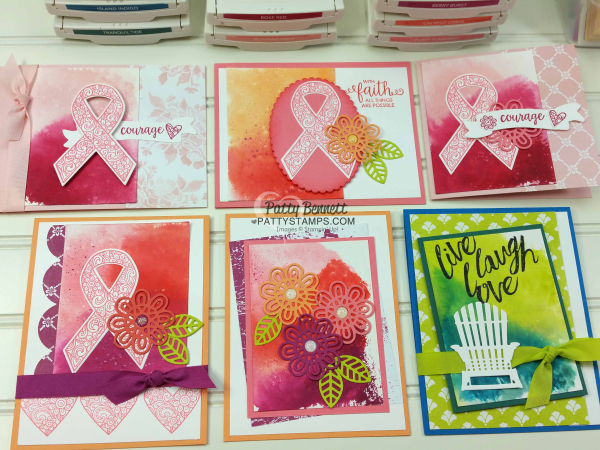 Watercolor paper background smoosh technique stampin up pattystamps patty bennett ribbon of courage card ideas
