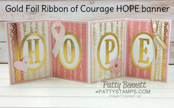 Ribbon of courage HOPE fold out accordion stampin up envelopes bundle of love dsp gold foil