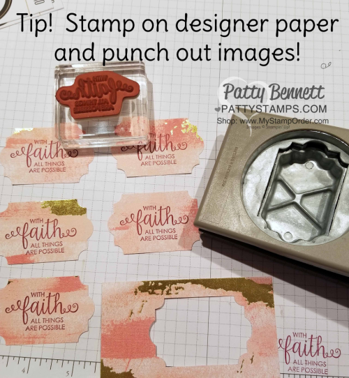 Crafting tip: stamp images onto preprinted designer paper like this Stampin' Up! Painted with Love paper, then punch or die cut!