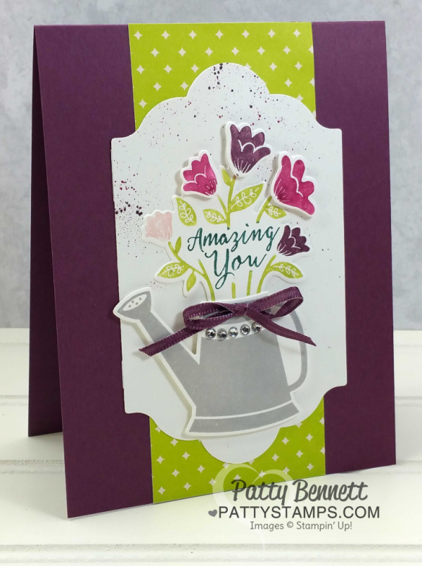 Stampin' Up! Grown with Love stamp set: watering can card. Stamp set retiring May 2018.