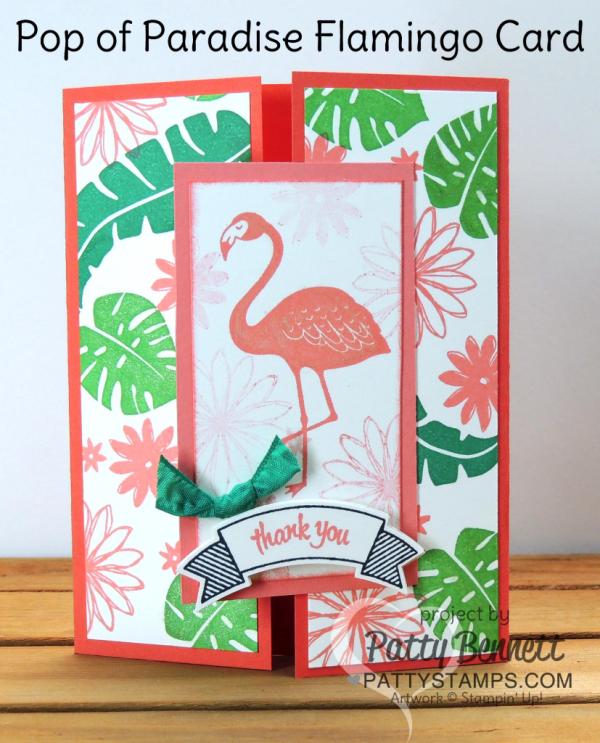 Stampin' UP! Pop of Paradise flamingo gate card - retiring stamp set May 2018