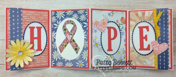 Ribbon of courage pattystamps stampin up HOPE accordion fold delightful daisy