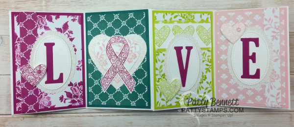 Ribbon of courage pattystamps stampin up LOVE accordion fold fresh florals in colors
