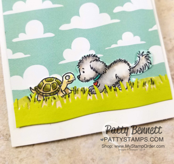 Bella & Friends note card - sweet doggie and turtle colored with Stampin' UP! Stampin' Blends markers, by Patty Bennett