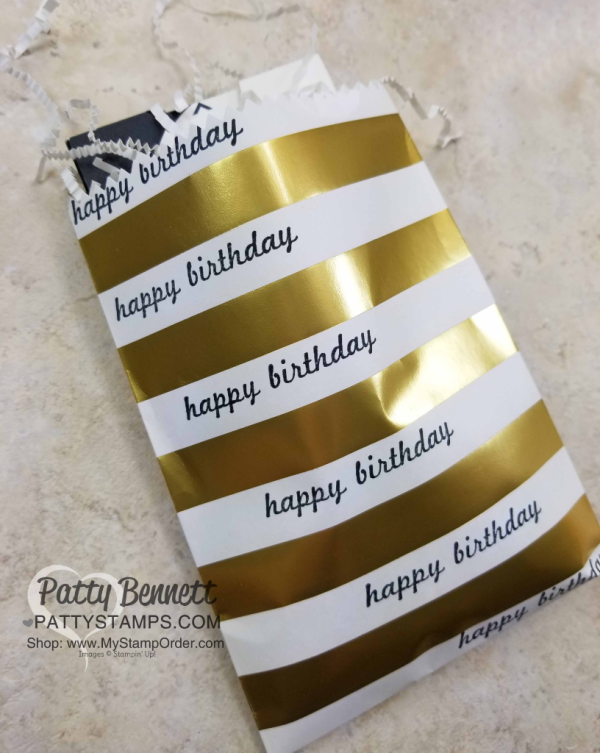Super quick and easy happy birthday treat bag for small gift or gift card! by Patty Bennett. Stampin' UP! supplies available here: www.MyStampOrder.com