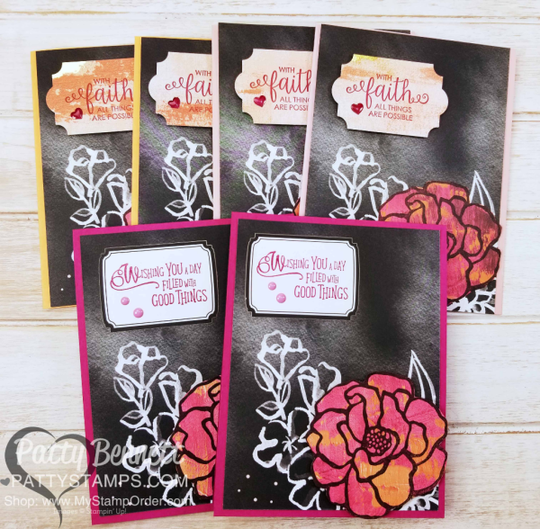 Petal Passsion Memories & More card ideas featuring the butterfly and flower images from the Stampin' Up! Beautiful Day stamp set, stamped onto Painted with Love designer paper, by Patty Bennett