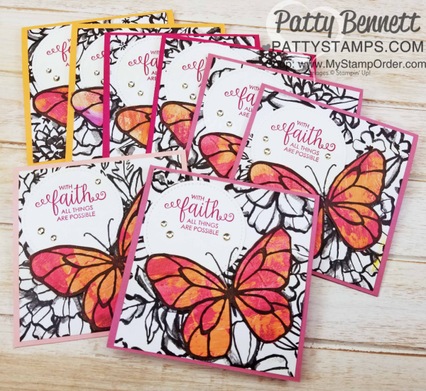 Petal Passsion designer paper card ideas featuring the butterfly image from the Stampin' Up! Beautiful Day stamp set, stamped onto Painted with Love designer paper, by Patty Bennett