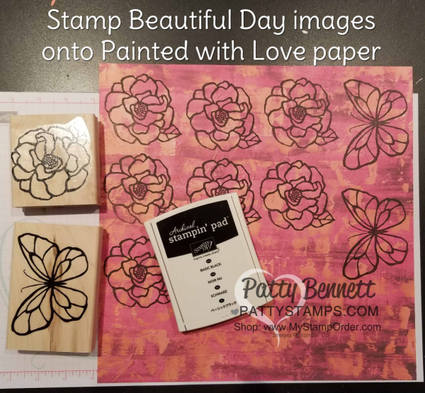 Stamp flower and butterfly images from the Stampin' UP! Beautiful Day stamp set onto the Painted with Love designer paper, then cut out for beautiful images on your handmade cards!