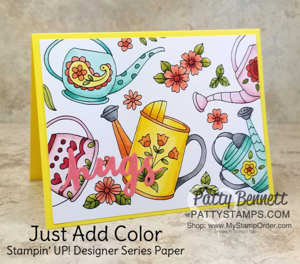 Just  Add Color designer paper from Stampin' UP! - perfect for coloring with Stampin' Blends markers.  Just Add Color paper is retiring and available while supplies last.