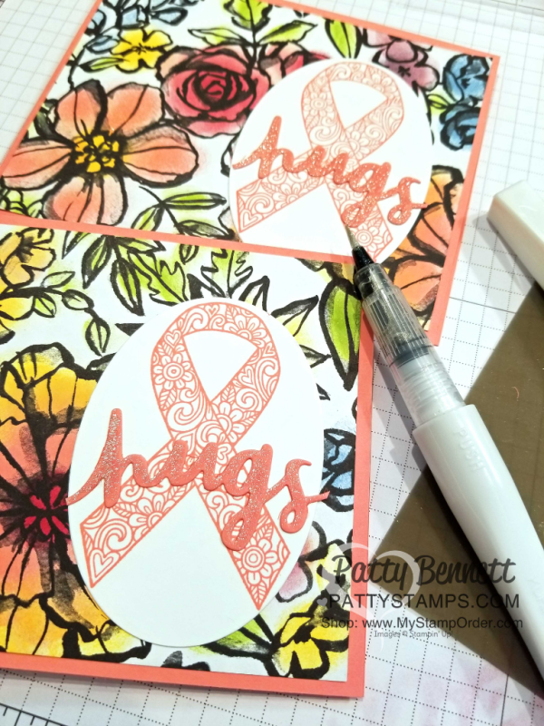 Color the black and white Petal Passion floral paper with Sponge Daubers and ink pads for easy and quick floral cards!  Ribbon of Courage set and Lovely Words thinlit dies also used.