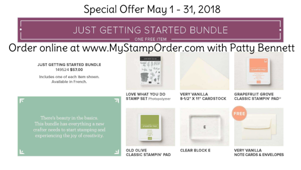 Stampin' UP! Share What You Love Just Getting Started Bundle preorder offer