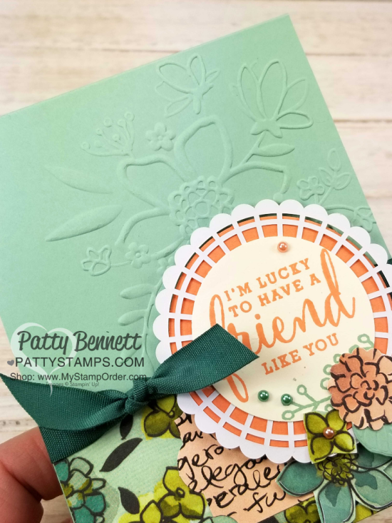 Share What You Love Stampin' UP! card idea featuring Lovely Floral embossing folder, designer paper and pearlized doily by Patty Bennett