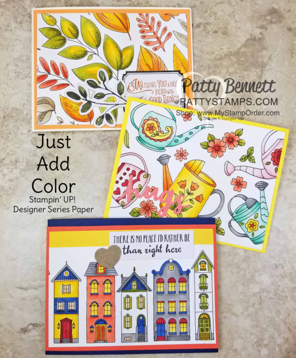 Card ideas featuring Just  Add Color designer paper from Stampin' UP! - perfect for coloring with Stampin' Blends markers.  Just Add Color paper is retiring and available while supplies last.