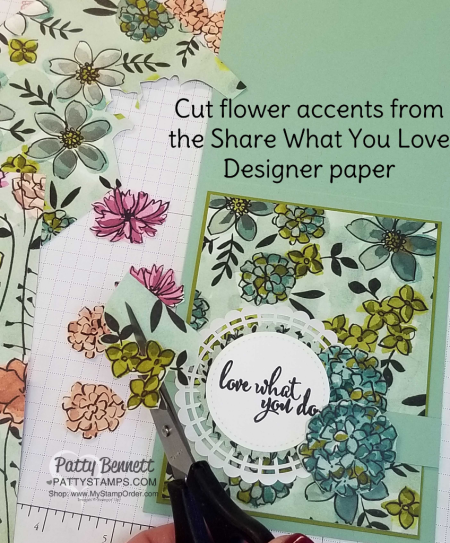 Tip for the Share What You Love Stampin' UP! card designer paper and Pearlized Doily by Patty Bennett