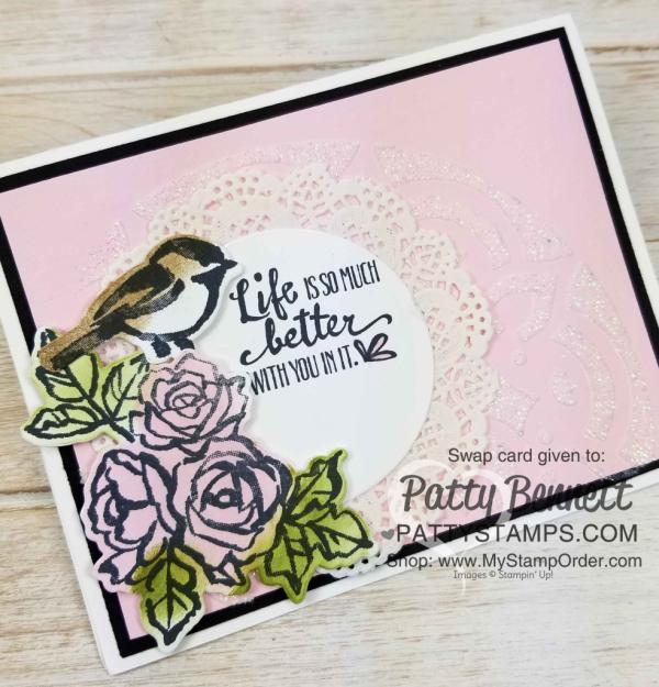 Petal Palette stamp set and Petals & More framelits birdie card by Sharon Skelton