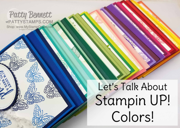 Stampin' UP! 2018 Color Family revamp: a study in Stampin' Up! color combos in rainbow order by Patty Bennett www.PattyStamps.com