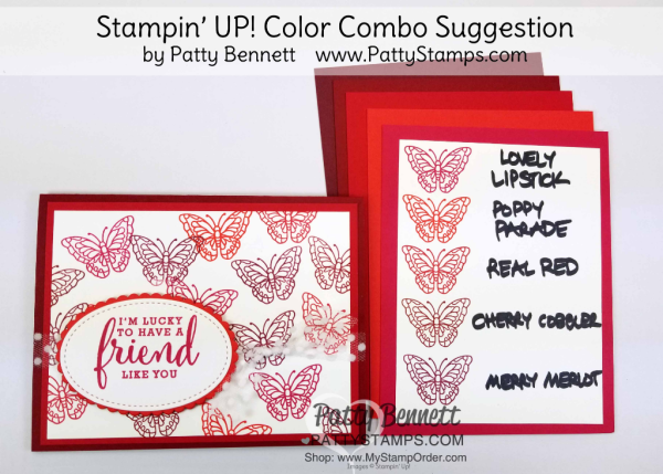 Stampin' UP! 2018 Color Family revamp: a study in Stampin' Up! red color combos in rainbow order by Patty Bennett www.PattyStamps.com