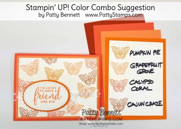 Stampin' UP! 2018 Color Family revamp: a study in Stampin' Up! orange color combos in rainbow order by Patty Bennett www.PattyStamps.com