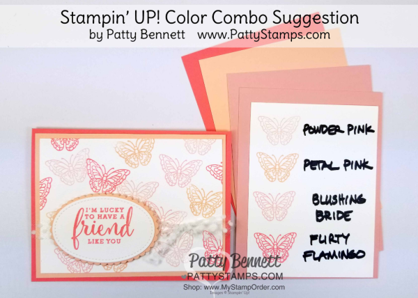 Stampin' UP! 2018 Color Family revamp: a study in Stampin' Up! light pink color combos in rainbow order by Patty Bennett www.PattyStamps.com