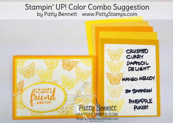 Stampin' UP! 2018 Color Family revamp: a study in Stampin' Up! yellow color combos in rainbow order by Patty Bennett www.PattyStamps.com