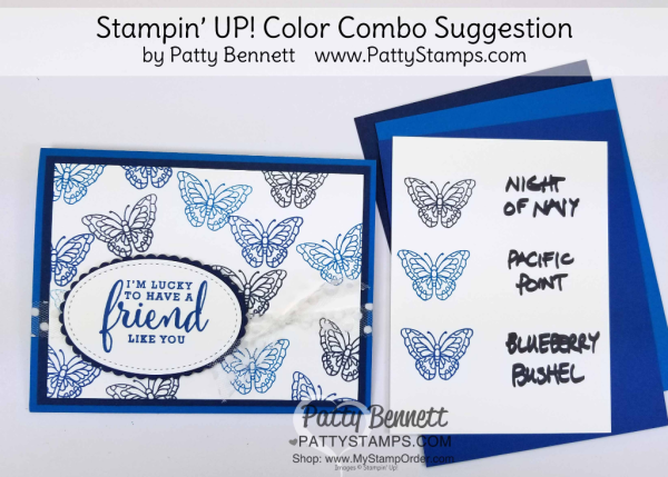 Stampin' UP! 2018 Color Family revamp: a study in Stampin' Up! blue color combos in rainbow order by Patty Bennett www.PattyStamps.com