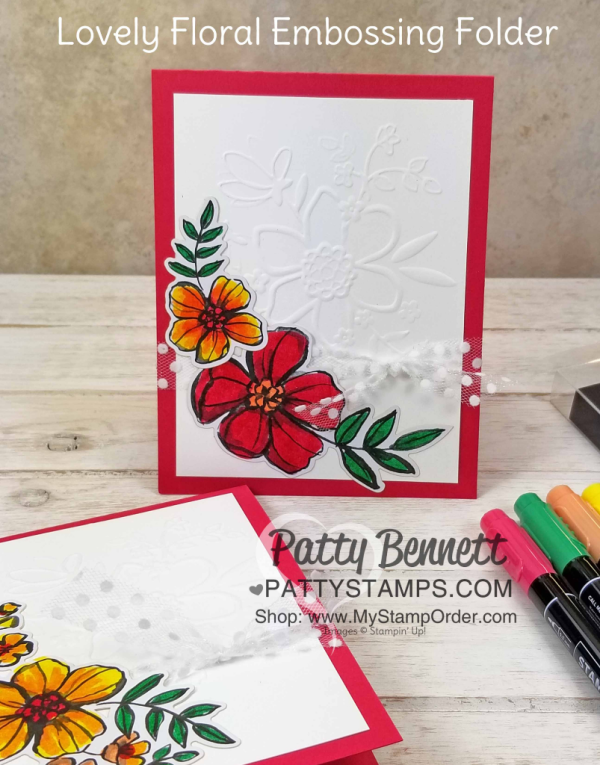 Lovely Floral embossing folder flower card featuring Stampin' UP! Share What You Love suite supplies and 2018-2020 In Colors, by Patty Bennett