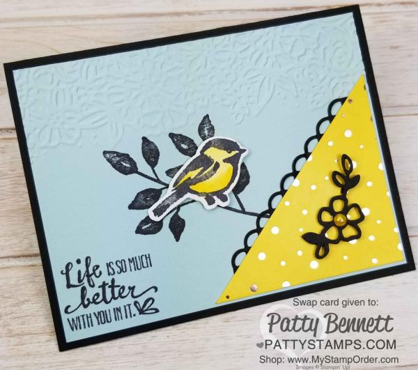 Petal Palette stamp set birdie card by Patti Baugh