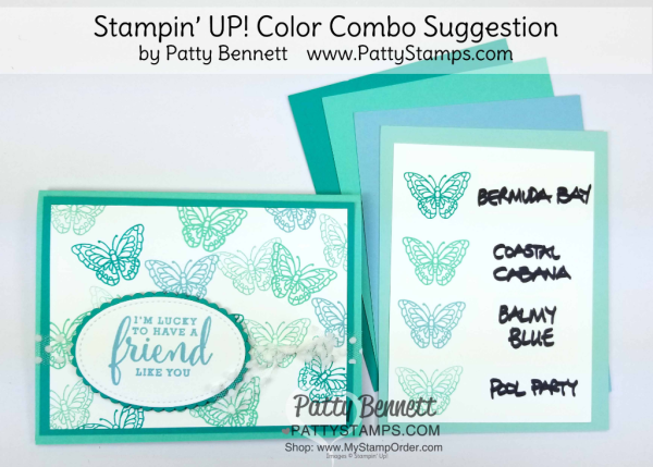Stampin' UP! 2018 Color Family revamp: a study in Stampin' Up! light blue color combos in rainbow order by Patty Bennett www.PattyStamps.com