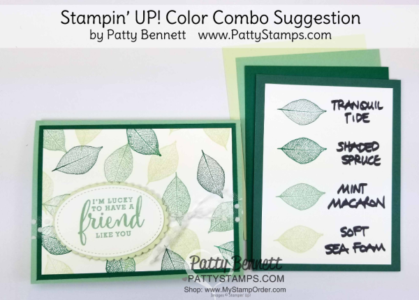 Stampin' UP! 2018 Color Family revamp: a study in Stampin' Up! green color combos in rainbow order by Patty Bennett www.PattyStamps.com