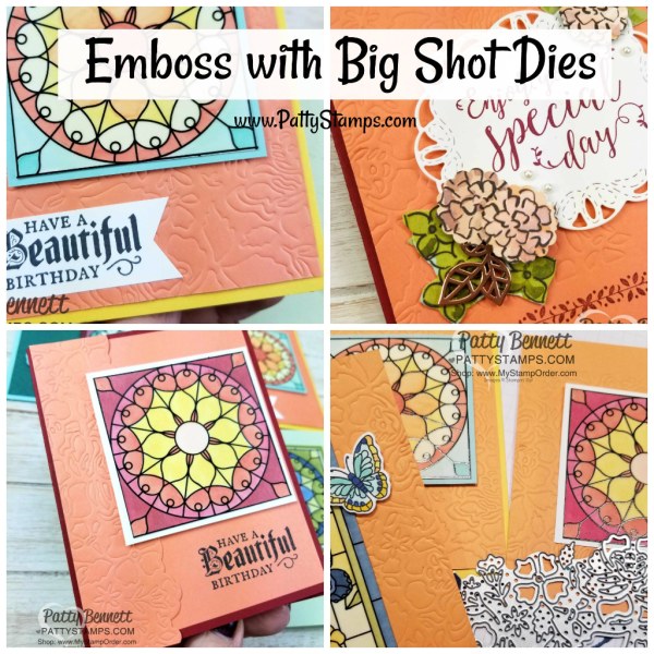 Learn how to emboss with your Stampin' Up! Springtime Impressions and Detailed Floral thinlits, your Big Shot and the Embossing Mats! Stampin' UP! card by Patty Bennett www.PattyStamps.com