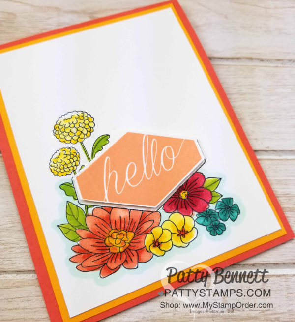 Accented Blooms floral note cards, handstamped and colored with Stampin' Blends alcohol markers by Patty Bennett, www.PattyStamps.com