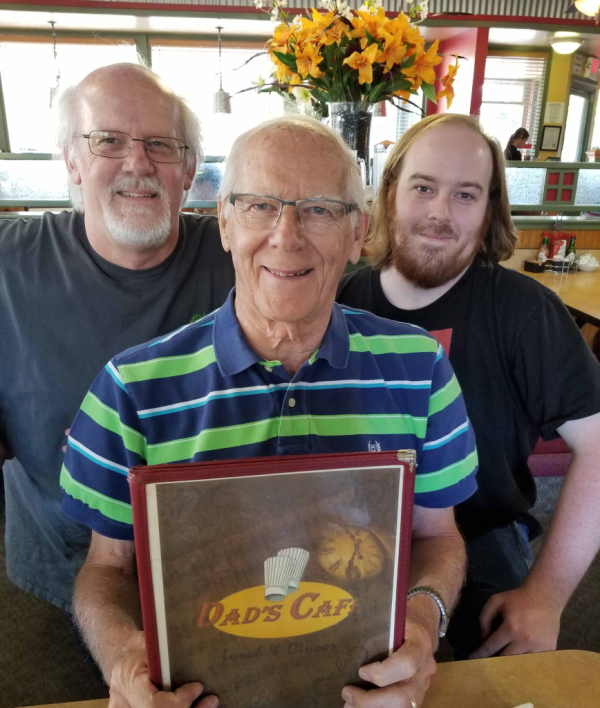 3 Bennett Generations at Dad's Cafe, Father's Day 2018